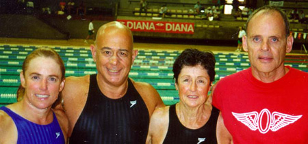 James Krueger and Olympic teammates at FINA World Championships in Morocco, 1998