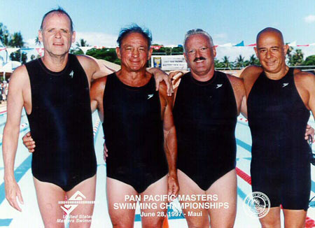 James Krueger and Olympic teammates at Pan Pacific Championship, 1997
