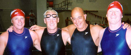 James Krueger and Olympic teammates at USMS Short Course Championships in Indianapolis,1998